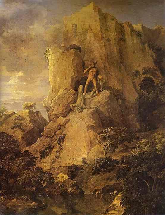 Пейзаж с человеком, убитым змеей, 1648 - николя пуссен